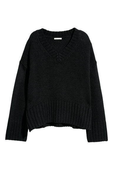 Knitted wool-blend jumper - Black -  | H&M