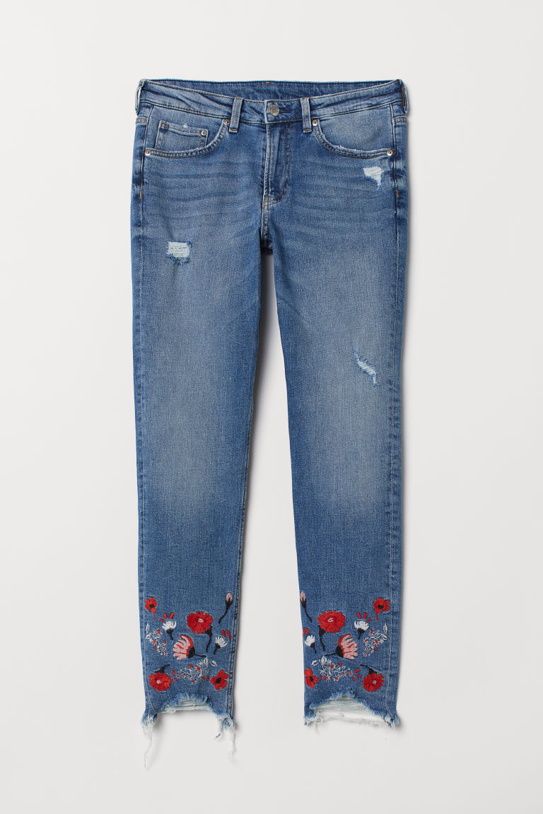 Girlfriend Regular Jeans - Denim blue/Embroidery - Ladies | H&M