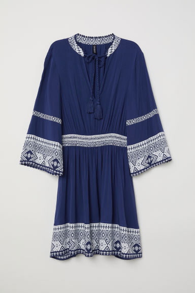 Dress with ties - Dark blue -  | H&M CN
