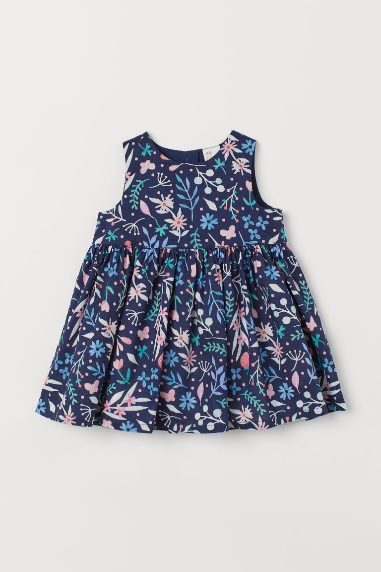 Cotton dress - Dark blue/Patterned - Kids | H&M CN
