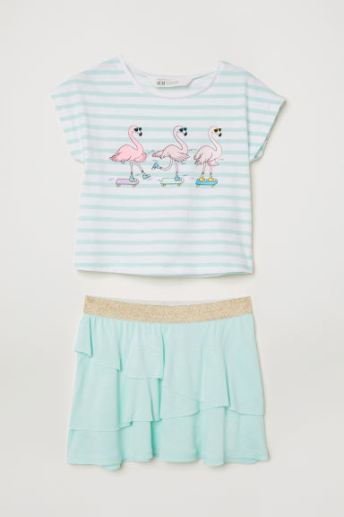 Top and skirt - Light turquoise - Kids | H&M CN