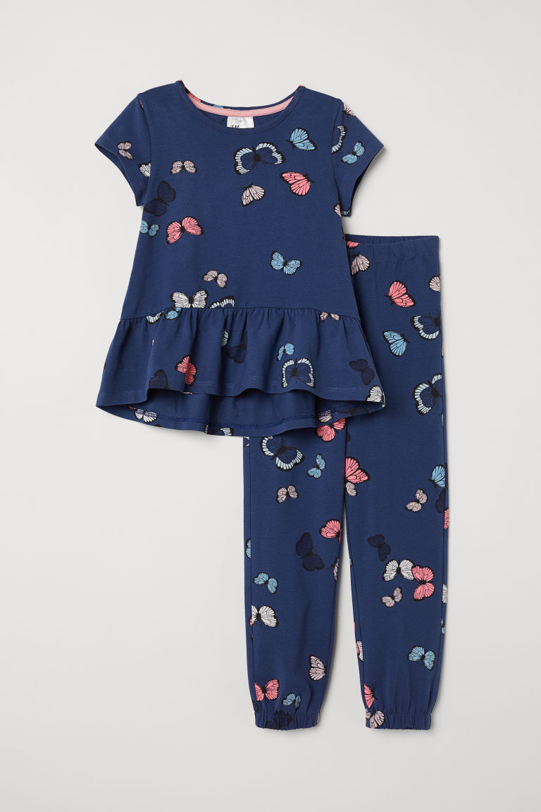Pyjamas - Dark blue/Butterflies - Kids | H&M