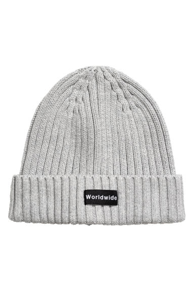 Rib-knit hat - Light grey -  | H&M GB