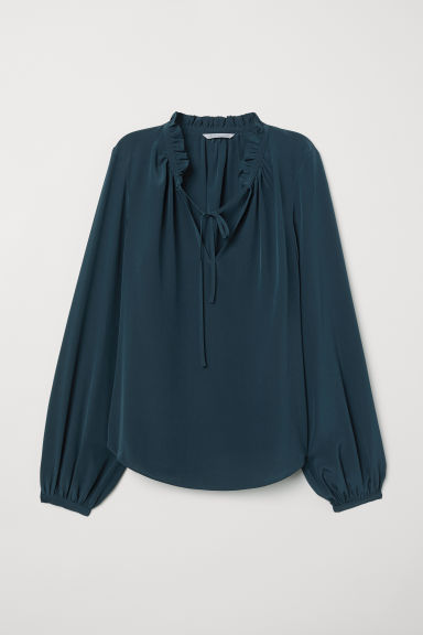 Camicetta in seta - Turchese scuro - DONNA | H&M IT