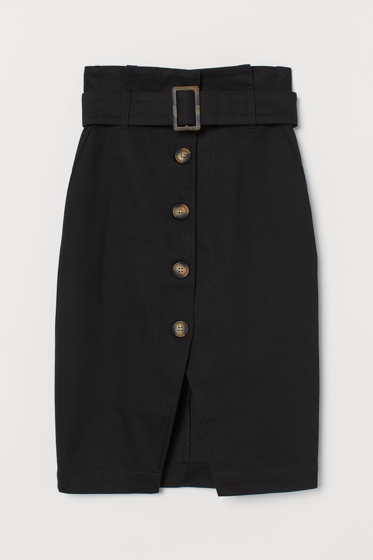 Paper bag skirt - Black - Ladies | H&M GB