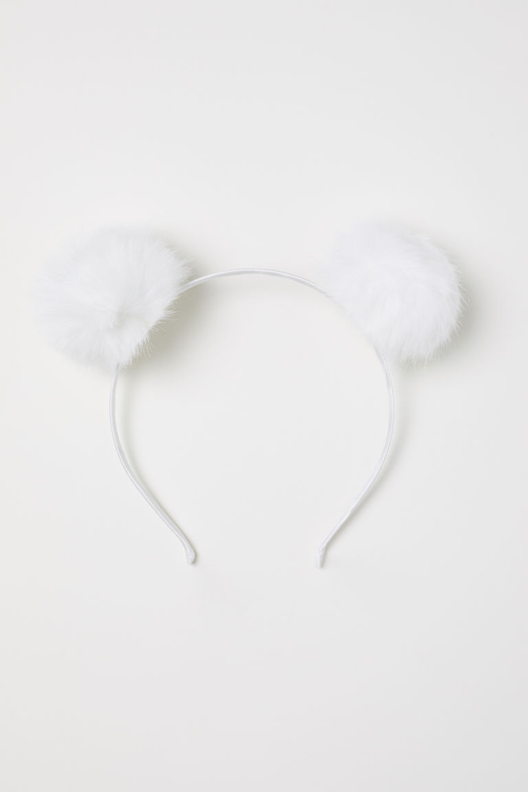 Alice band with pompoms - White -  | H&M CN
