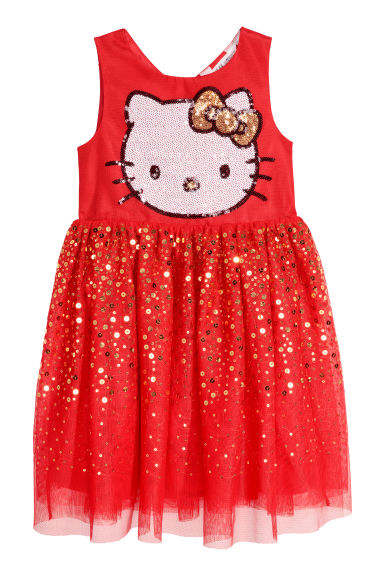Tulle dress with sequins - Red/Hello Kitty - Kids | H&M CN
