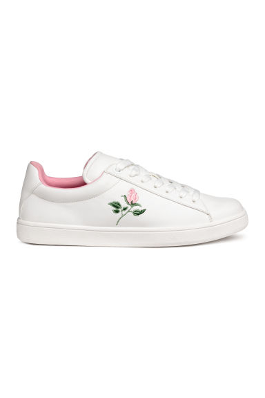 Baskets avec broderies - Blanc/rose -  | H&M CH