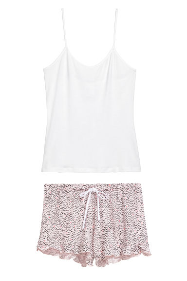 Pyjama top and shorts - Pink/Hearts -  | H&M