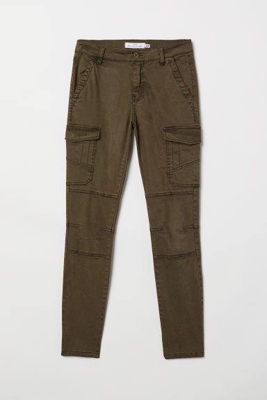 Lyocell-blend cargo trousers - Dark khaki green - Ladies | H&M