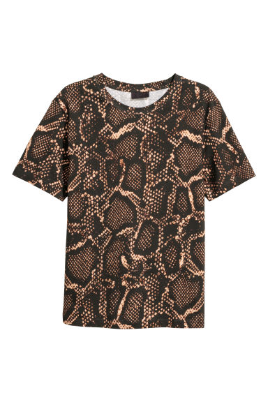 Patterned T-shirt - Black/Snakeskin print - Men | H&M GB