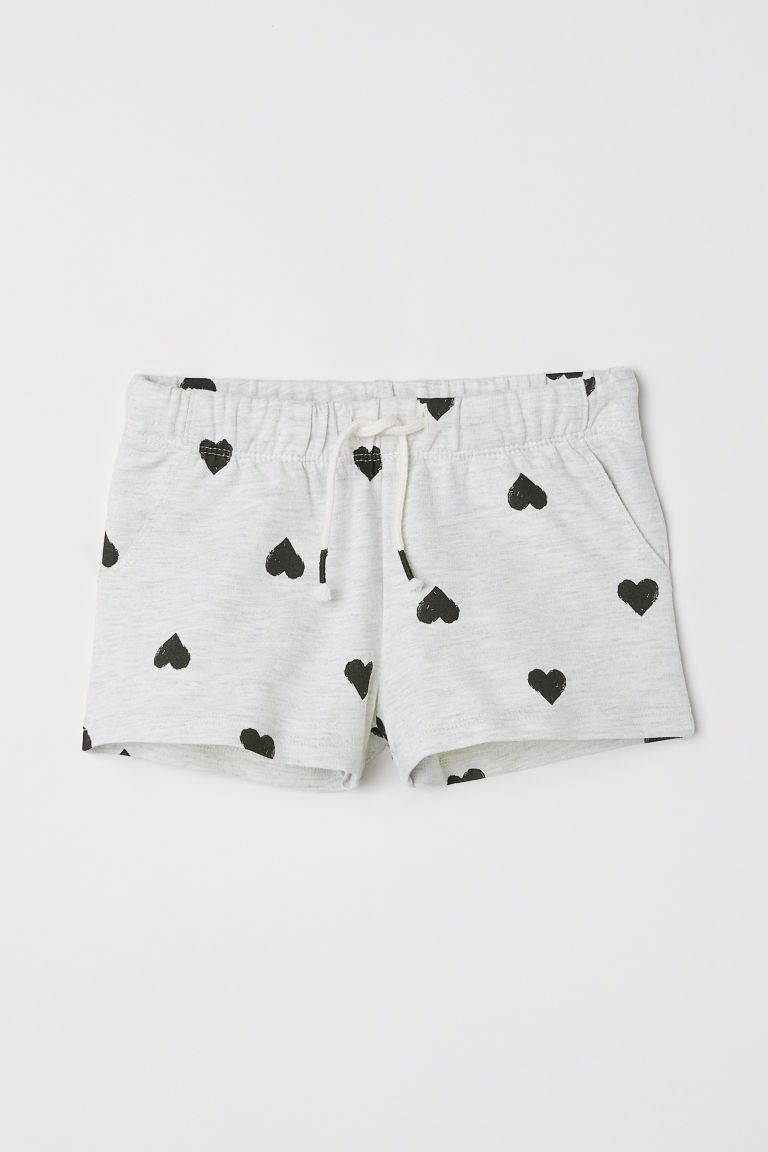 Jersey shorts - Light grey/Hearts - Kids | H&M