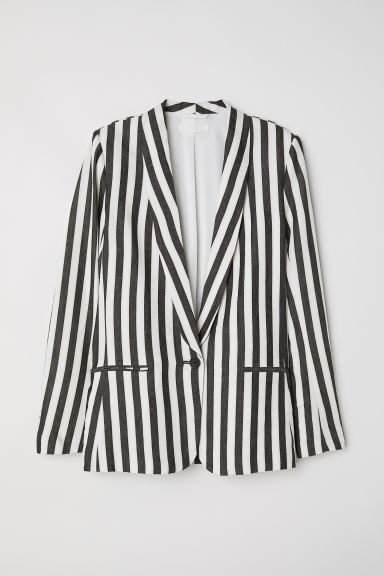 Linen-blend jacket - White/Black striped - Ladies | H&M