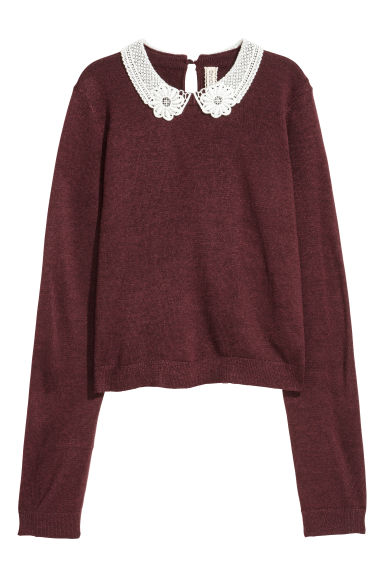 Lace-collared jumper - Burgundy -  | H&M
