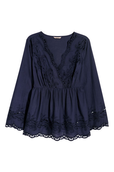 H&M+ V-neck blouse - Dark blue - Ladies | H&M