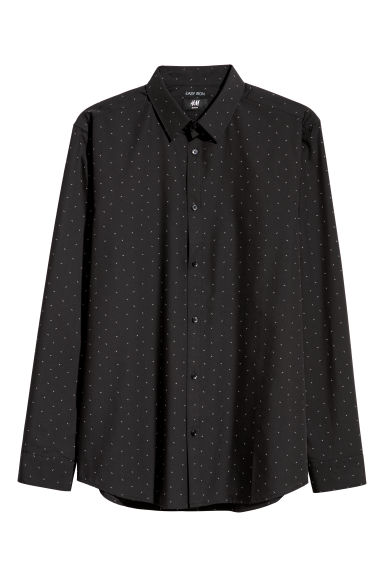 Easy-iron shirt Slim fit - Black/Patterned - Men | H&M IE