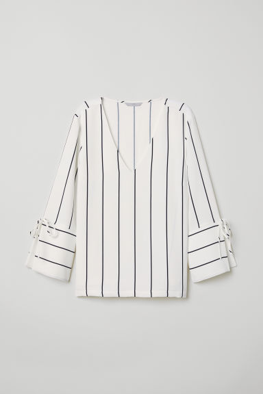 V-neck blouse - White/Striped - Ladies | H&M