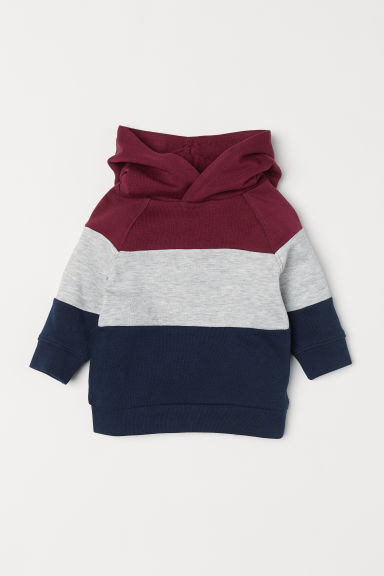 Hooded top - Burgundy/Dark blue - Kids | H&M