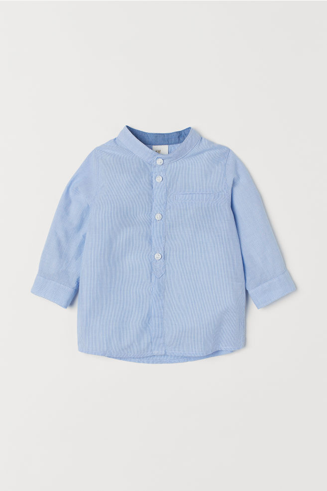1160b92411a5 Grandad shirt - Blue Striped - Kids