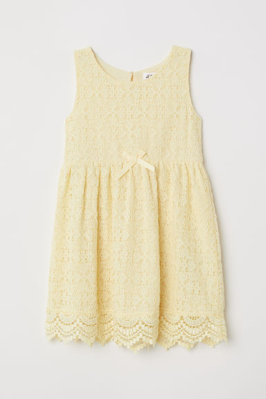 Sleeveless lace dress - Light yellow - Kids | H&M