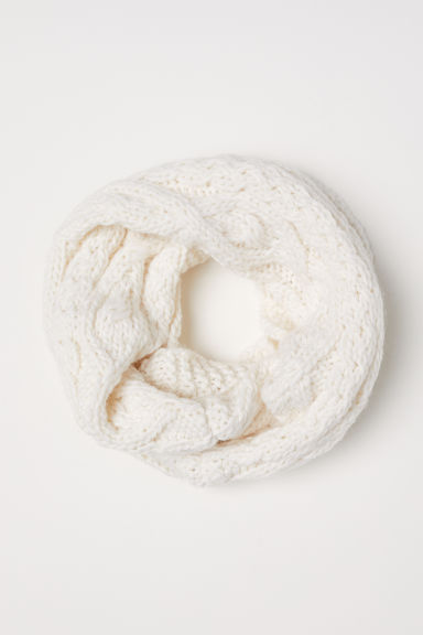 Cable-knit tube scarf - White -  | H&M