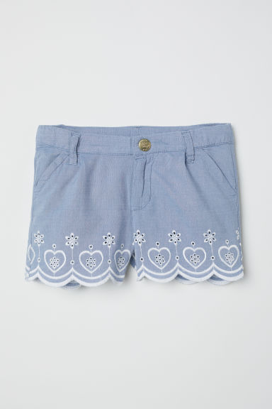 Embroidered cotton shorts - Blue - Kids | H&M