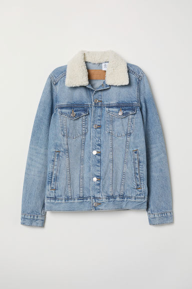 Pile-collared denim jacket - Light denim blue - Ladies | H&M