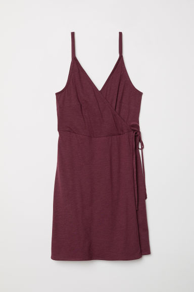 Modal-blend wrap dress - Burgundy - Ladies | H&M CN