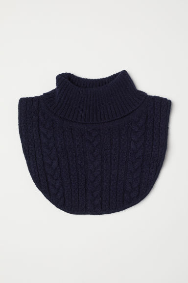 Cable-knit polo-neck collar - Dark blue - Kids | H&M