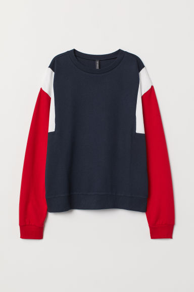 Sweatshirt - Dark blue/red - Ladies | H&M US