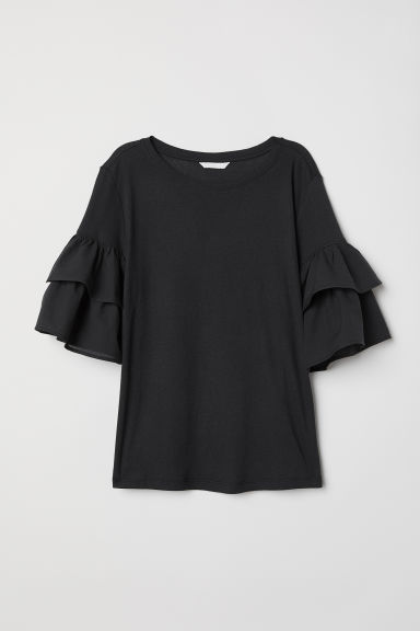 Jersey flounce-sleeved top - Black -  | H&M