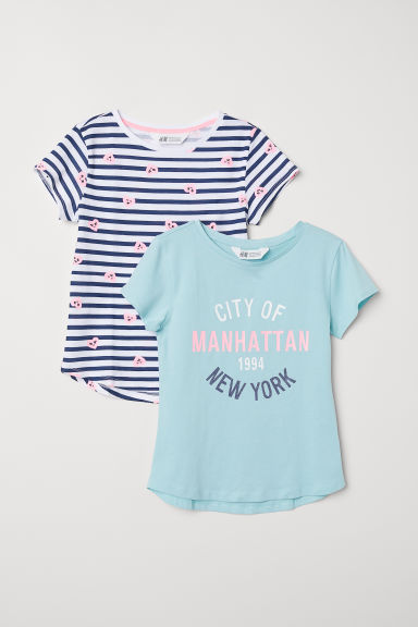 2-pack printed T-shirts - Turquoise/Striped - Kids | H&M