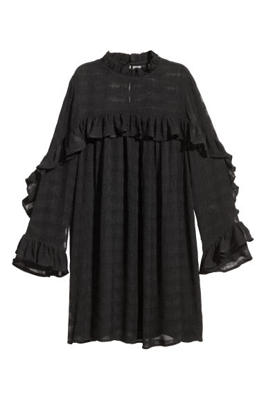 Textured dress - Black -  | H&M CN