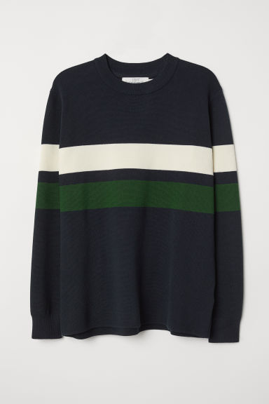 Block-coloured jumper - Dark blue - Men | H&M CN
