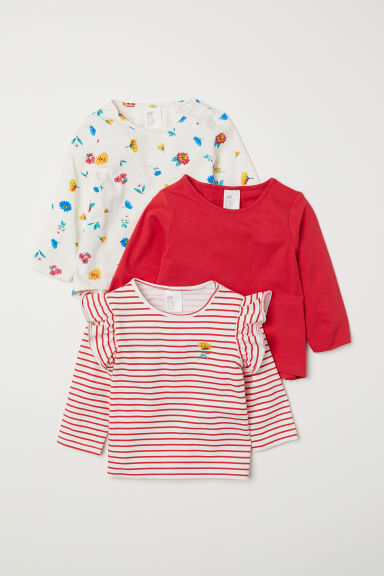 3-pack jersey tops - Red/Patterned - Kids | H&M