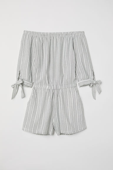 Off-the-shoulder playsuit - White/Striped - Ladies | H&M CN