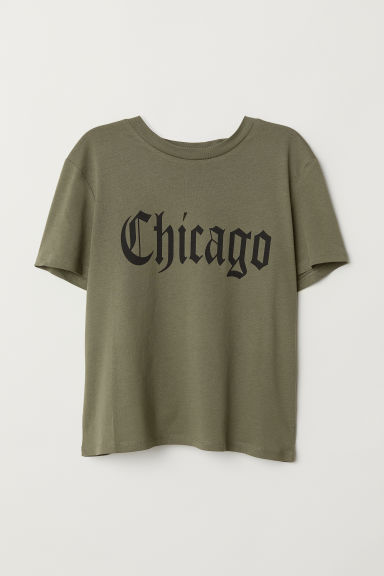 Printed T-shirt - Khaki green/Chicago -  | H&M