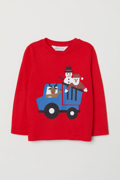 Printed top - Bright red/Snowman - Kids | H&M