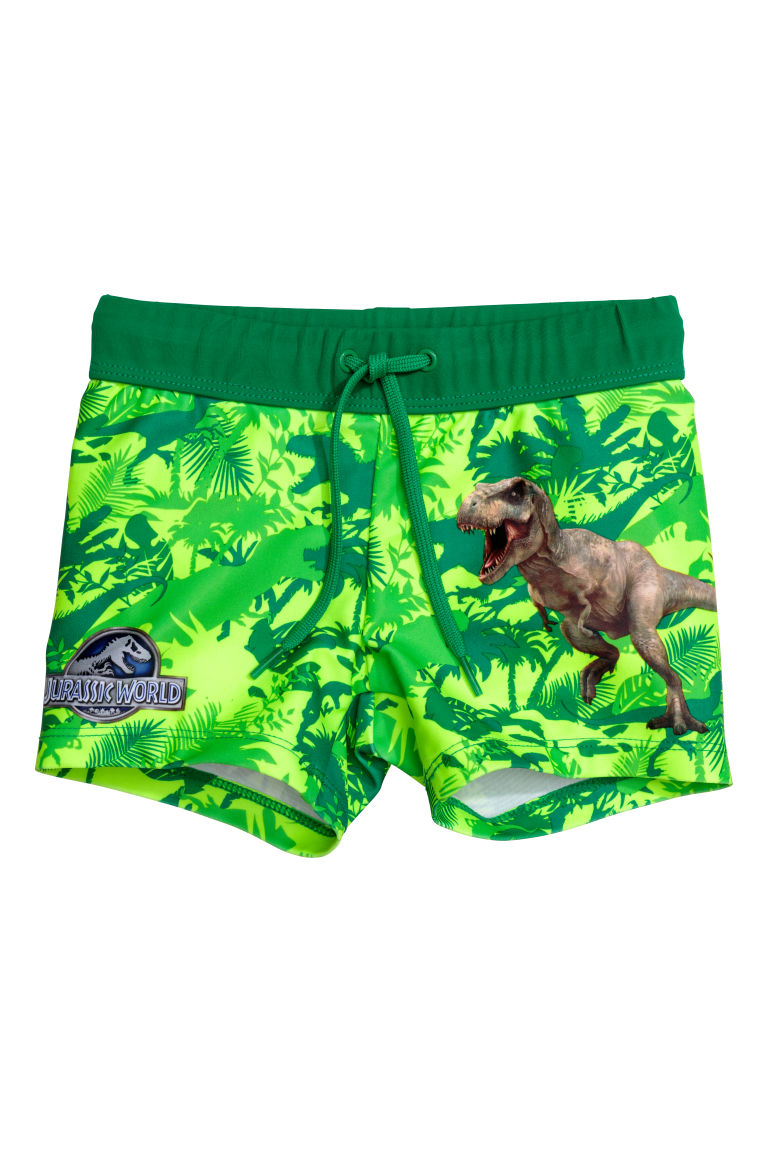 Printed swimming trunks - Green/Jurassic World - Kids | H&M IN