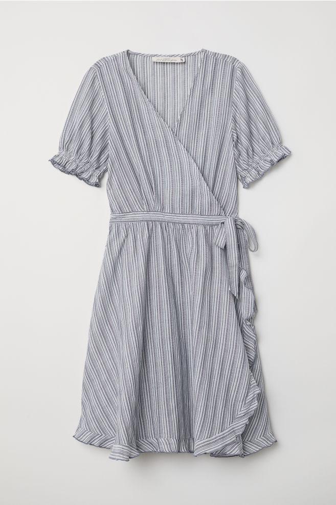 4cf3e8f2b58a Cotton wrap dress - Blue/White striped - Ladies | H&M ...