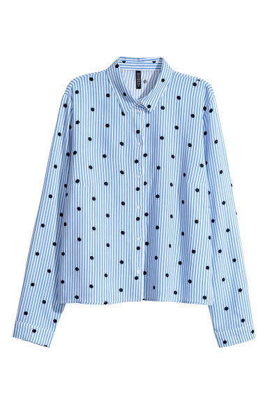 Patterned viscose shirt - Light blue/White striped - Ladies | H&M