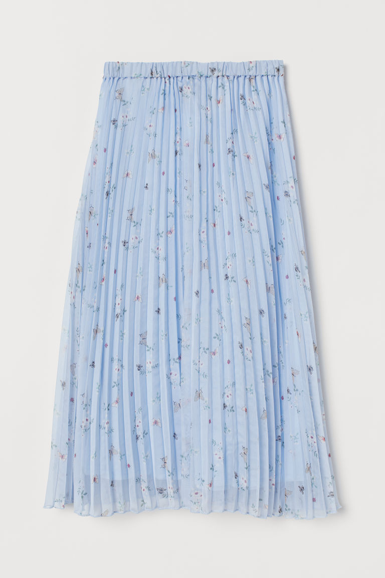 Pleated skirt - Light blue/Floral -  | H&M IN