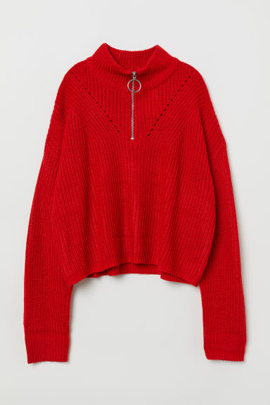 Textured-knit jumper - Red -  | H&M CN