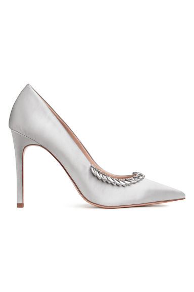 Embellished satin court shoes - Silver-coloured - Ladies | H&M CN