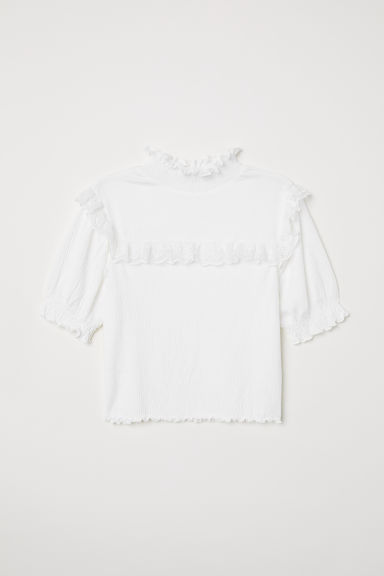 Crinkletop met kant - Wit - DAMES | H&M BE