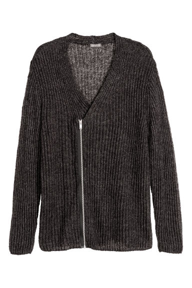 Zipped cardigan - Dark black marl - Men | H&M CN