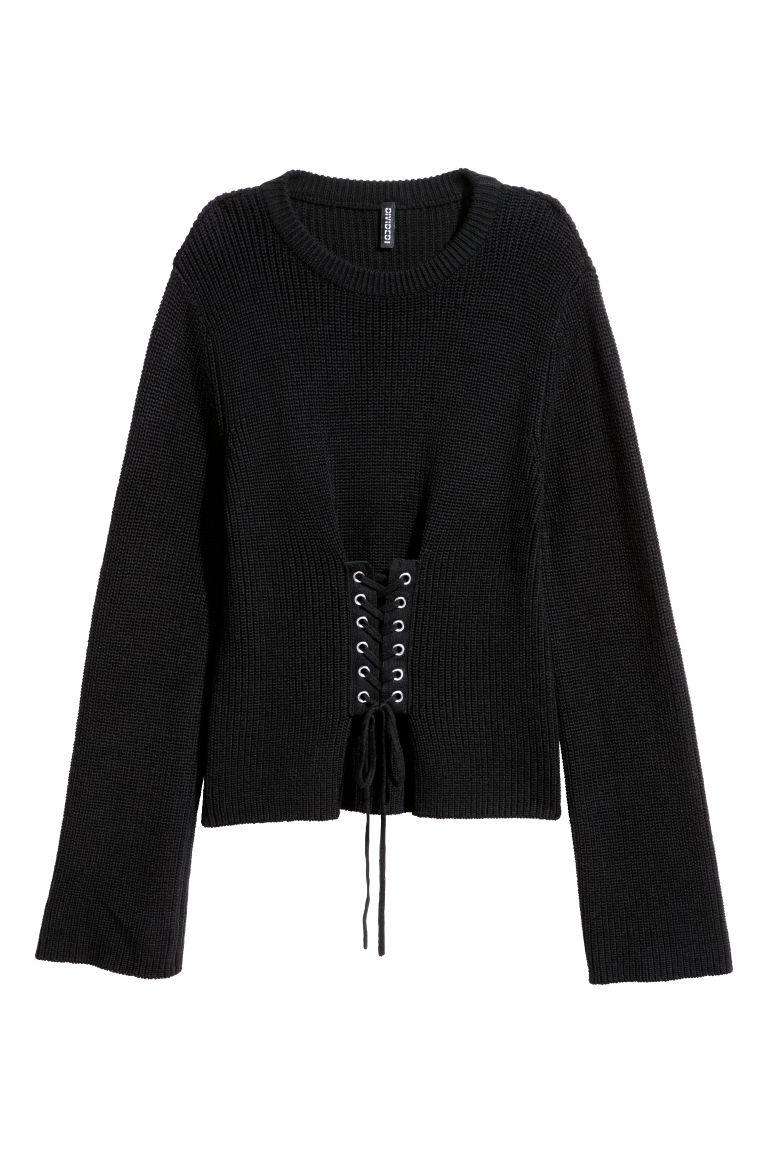 Knitted jumper with lacing - Black -  | H&M CN