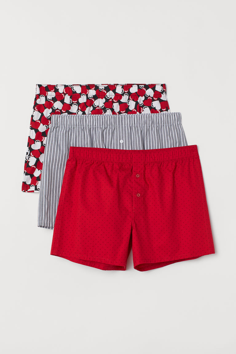 3-pack woven boxer shorts - Red/Hearts - Men | H&M