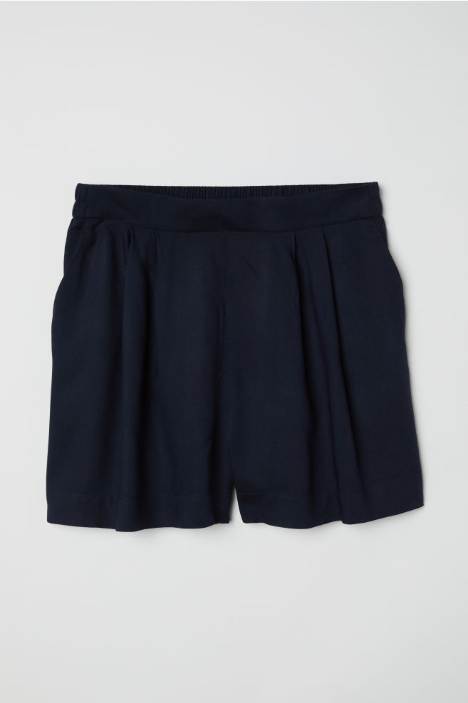 Wide-cut Shorts - Dark blue - Ladies | H&M US 1