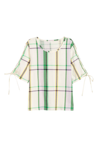 Cotton top with lacing - White/Checked - Ladies | H&M IE